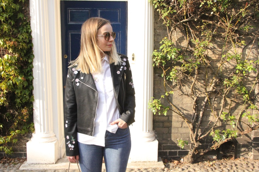 White shirt, jeans and biker jacket