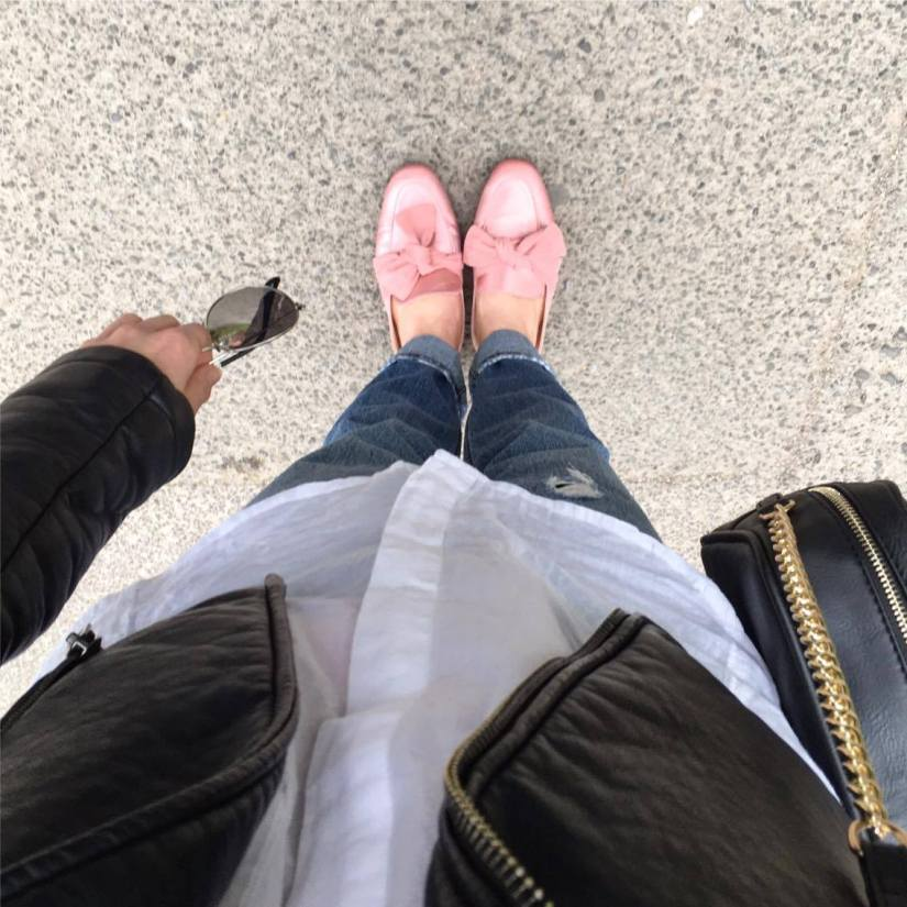 Pink mules, white shirt and jeans