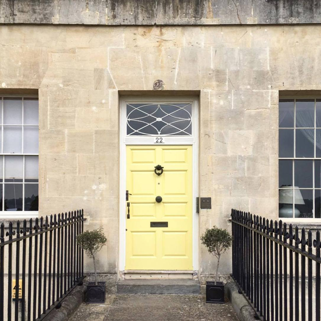 Pretty yellow door on the Royal Crescent