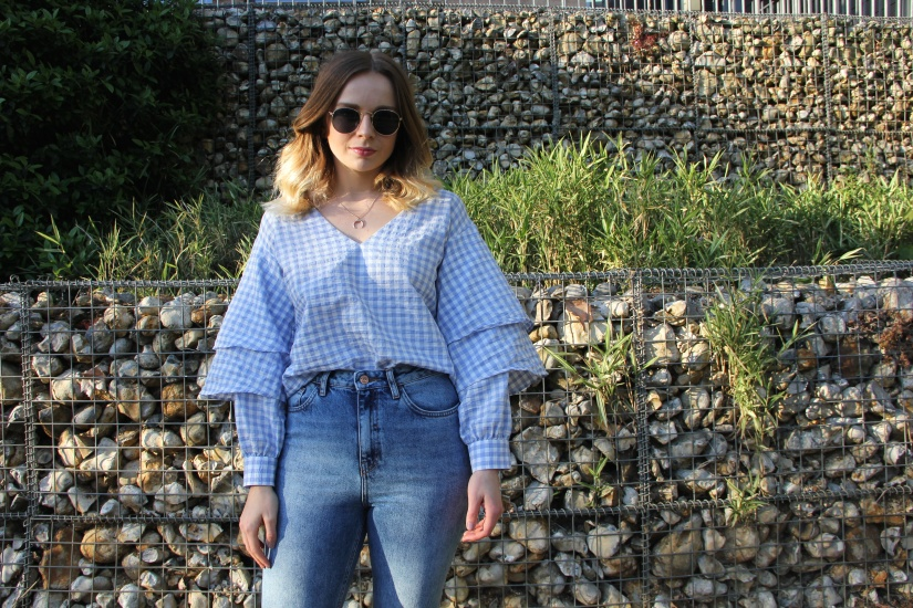 Topshop blue gingham top