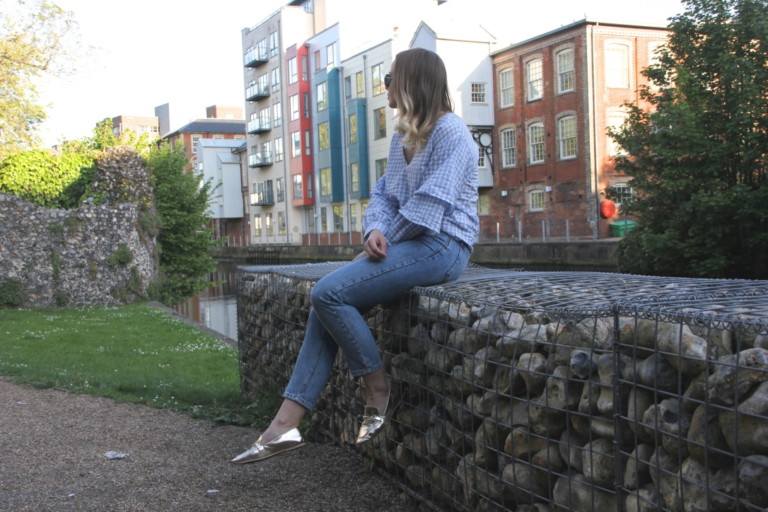 Topshop gingham and blue jeans