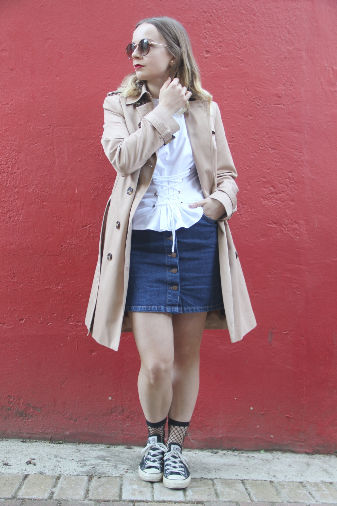 Trench coat and denim skirt