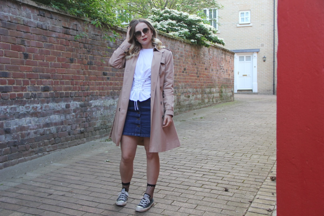 Trench coat and white tee outfit