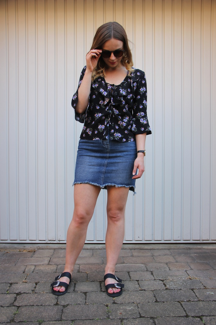 Floral blouse and denim skirt
