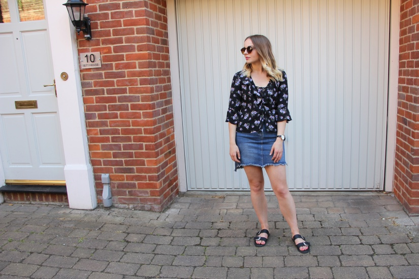 Florals and denim outfit