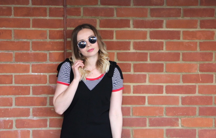 jumpsuit and striped tee