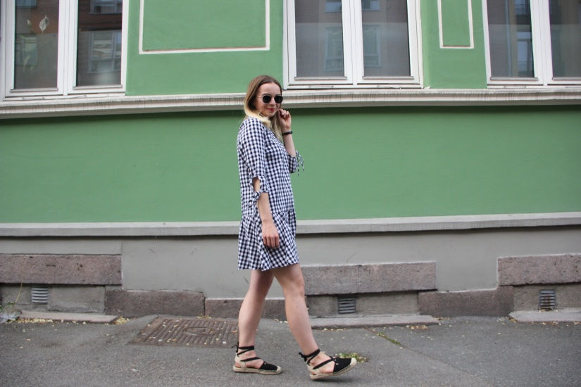 Smock dress with black espadrilles