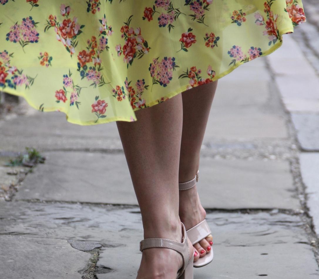 New Look yellow midi skirt