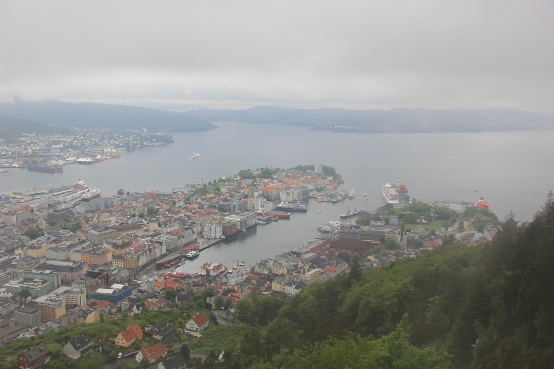 Bergen view from top of mount Floyen
