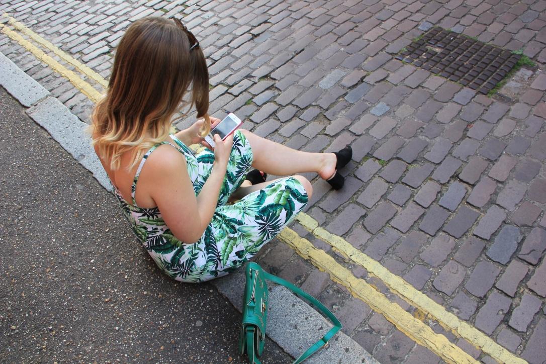 Culotte jumpsuit with palm print