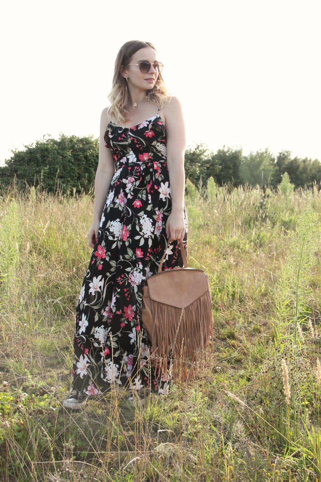 Floral maxi dress and rucksack