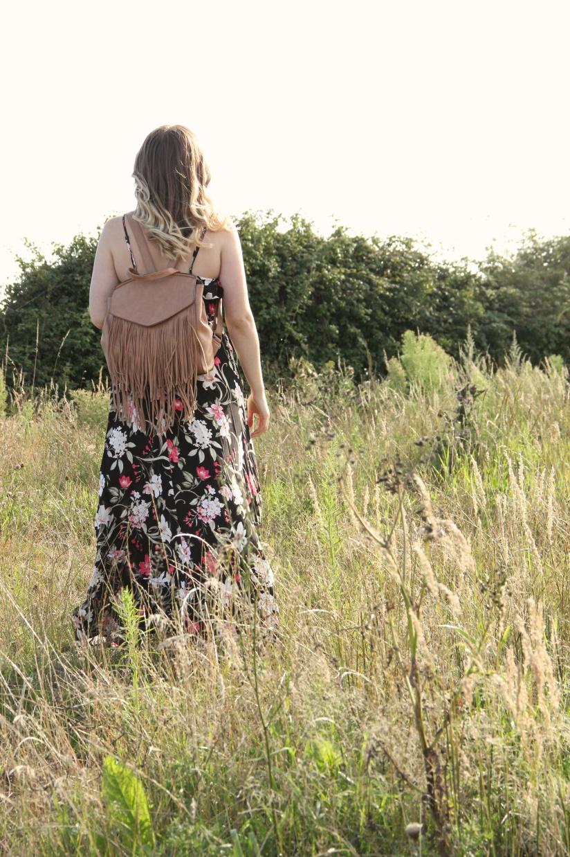 Floral maxi dress and tan bag