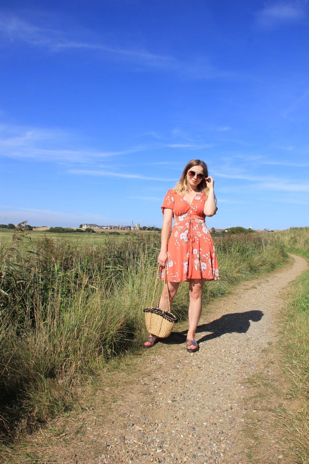 New Look orange floral lace up tea dress