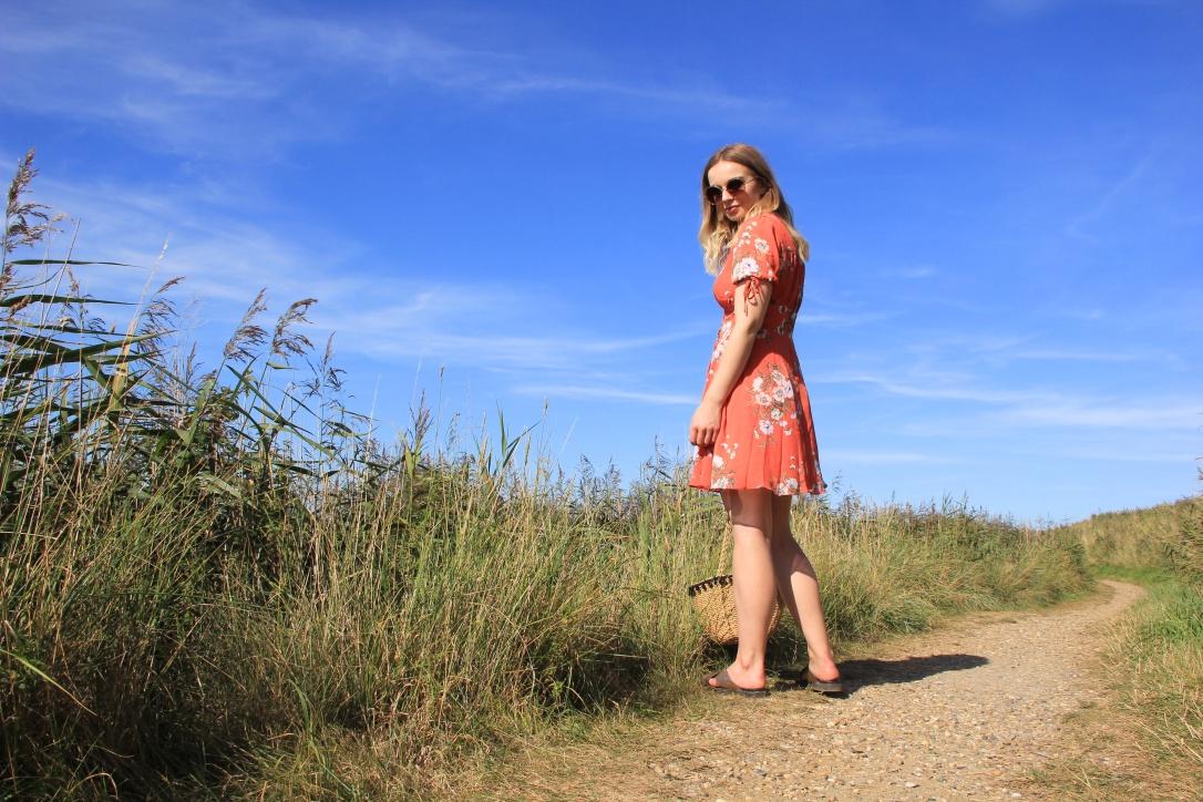 Orange floral tea dress outfit