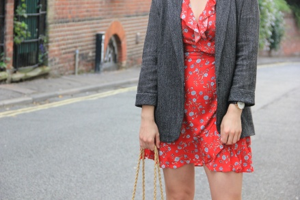 Red wrap dress outfit
