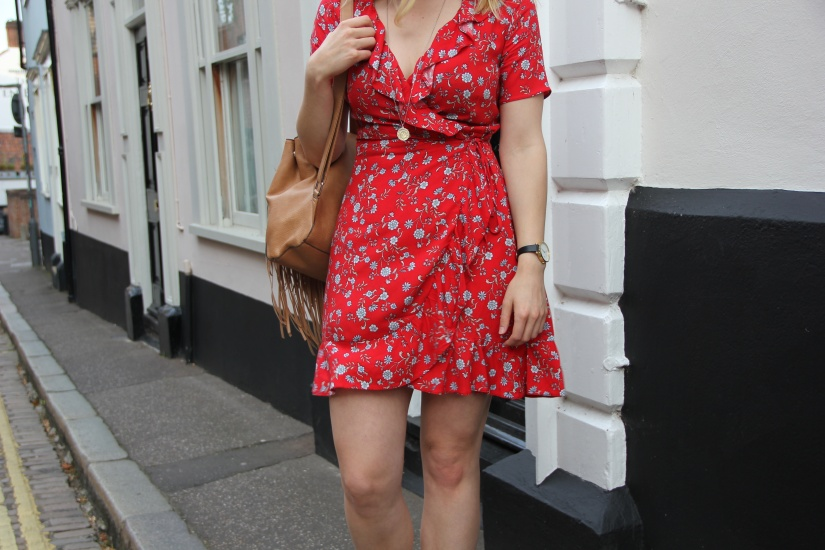 What to wear with a red wrap dress