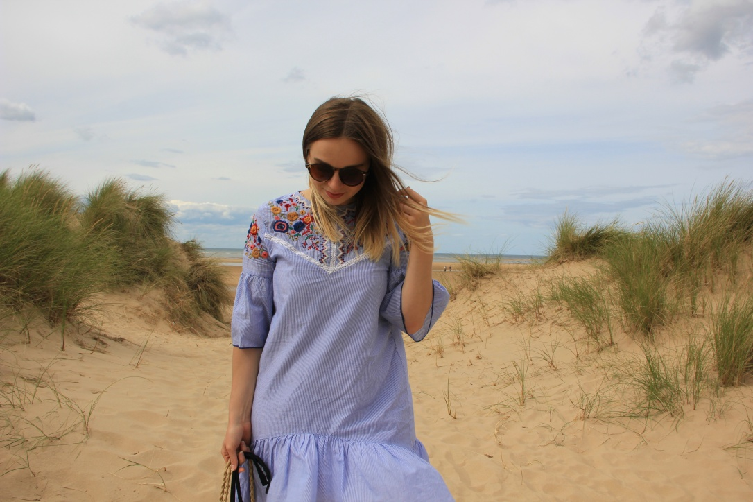 Zara embroidered smock dress