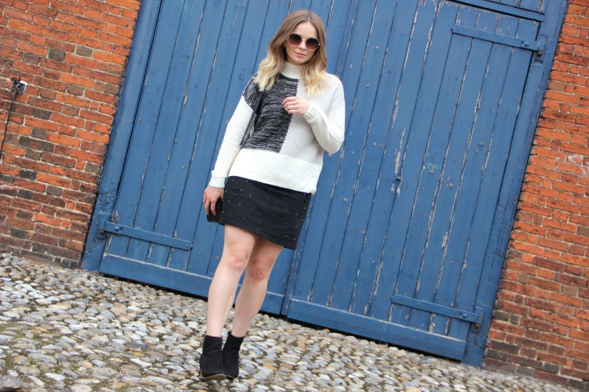 Colour block jumper and skirt autumn