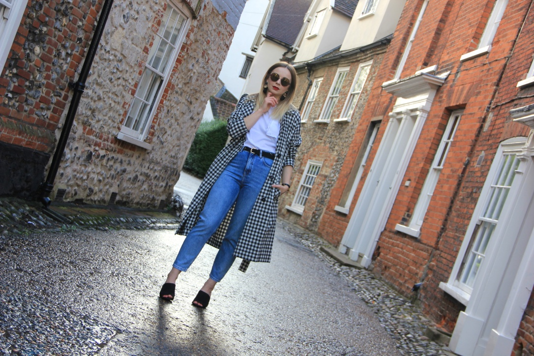 Gingham duster coat and jeans