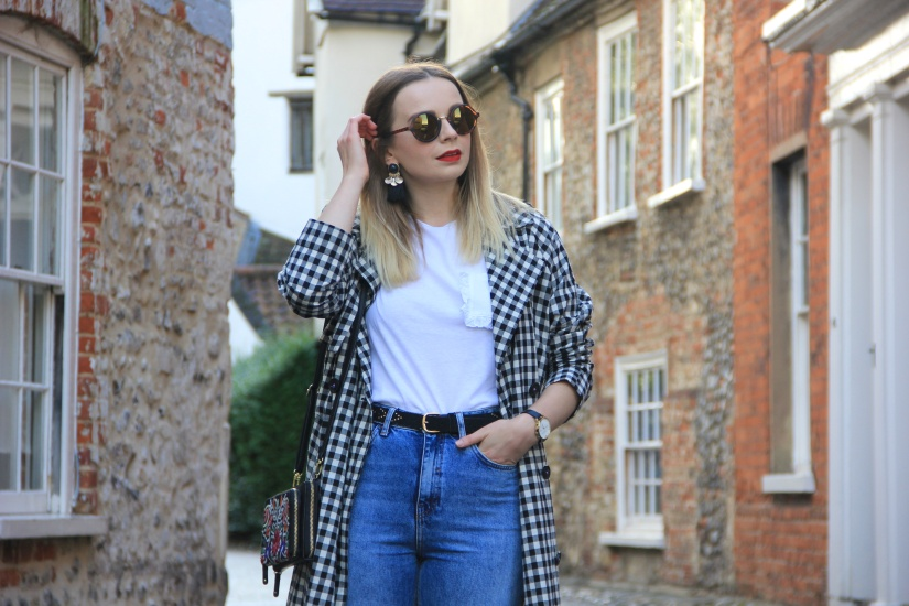 Gingham trench coat and jeans