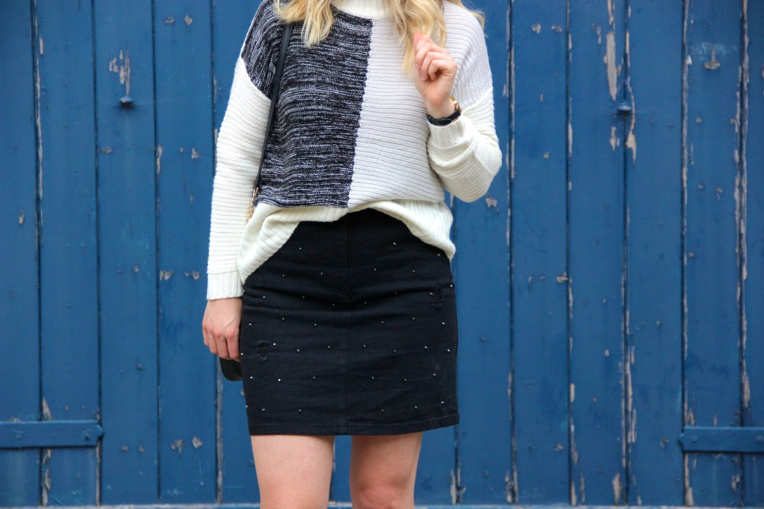 Matalan jumper and black studded skirt