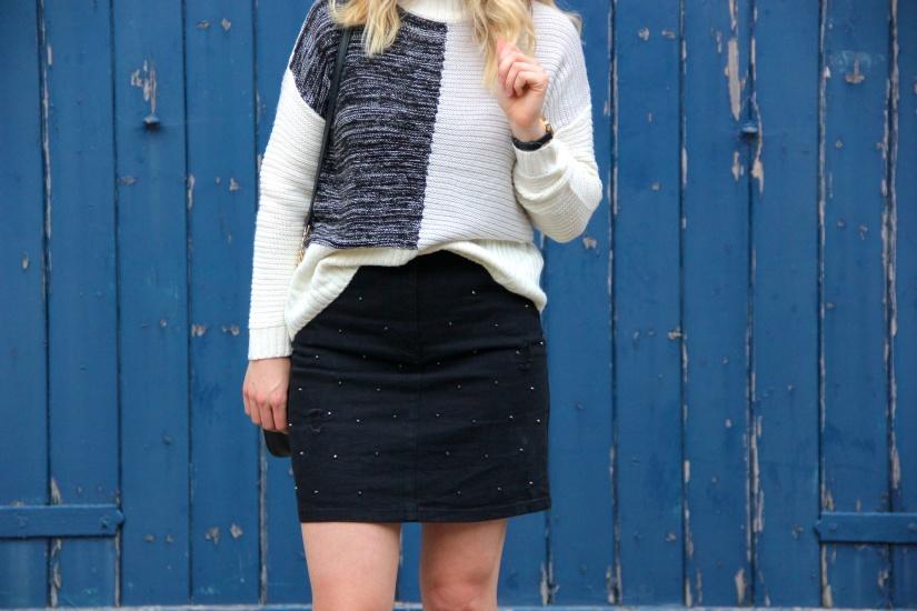 Matalan jumper and black studded skirt