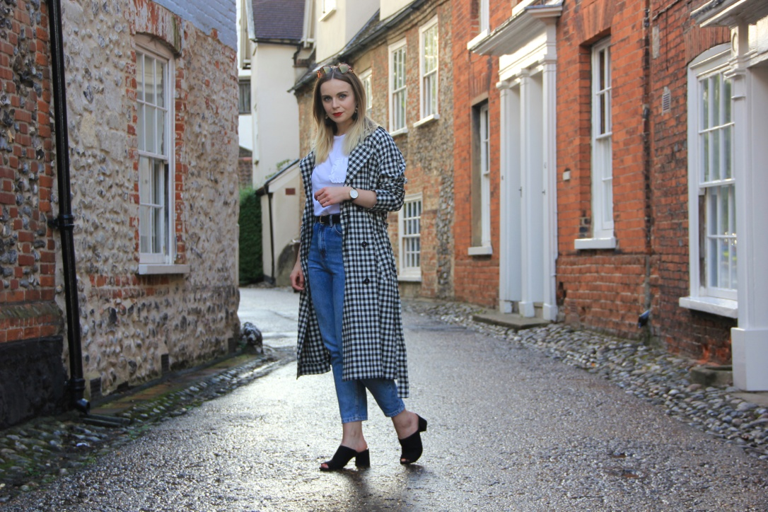 Styling a gingham trench coat