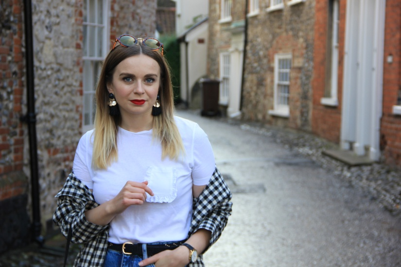 White tee and gingham trench