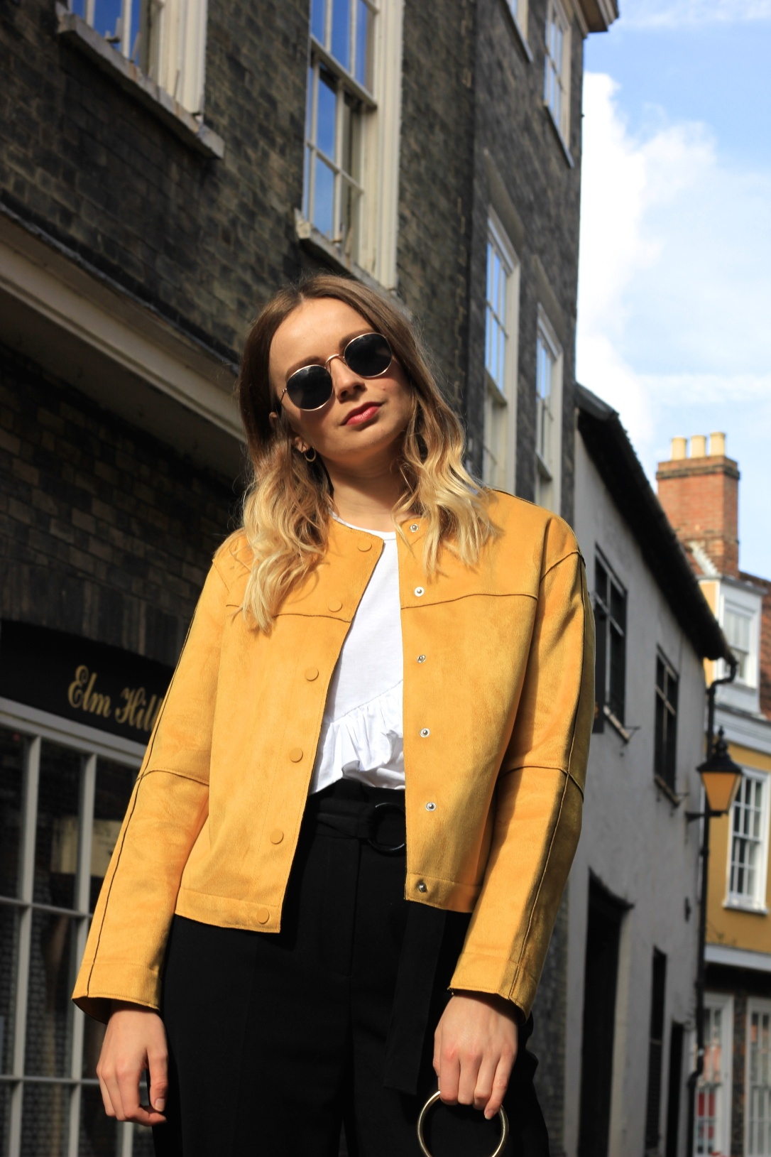 Yellow faux suede autumn jacket