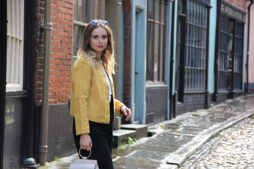 Yellow faux suede jacket