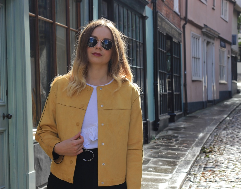 Yellow faux suede Zara jacket