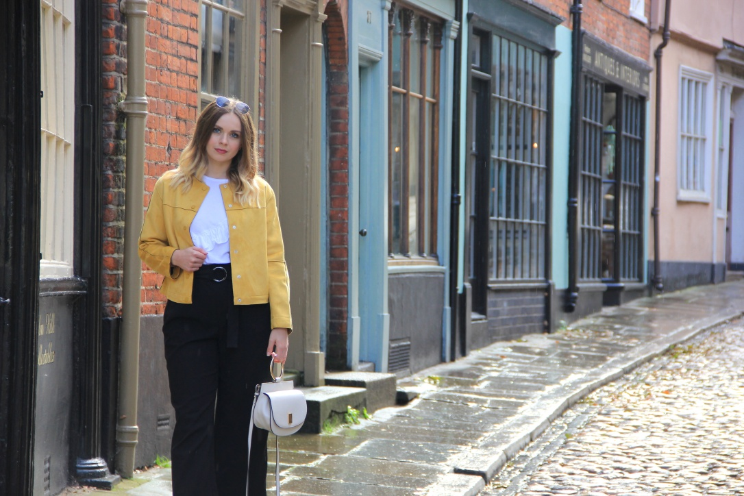 Yellow Zara jacket outfit