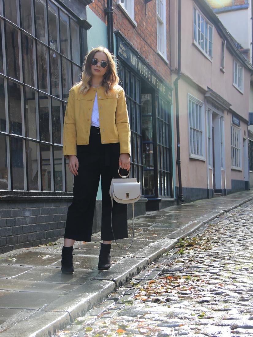 Zara yellow jacket outfit