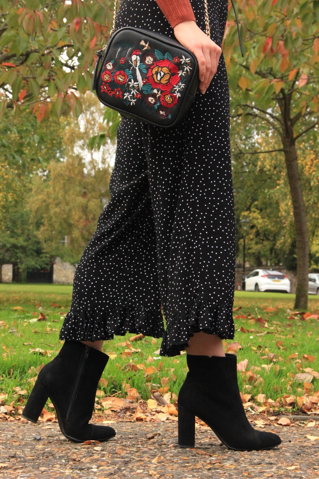 Culotte jumpsuit ankle boots