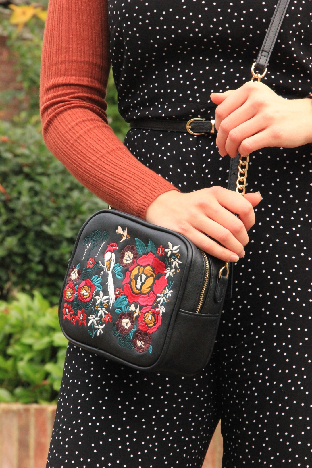 Embroidered cross body bag