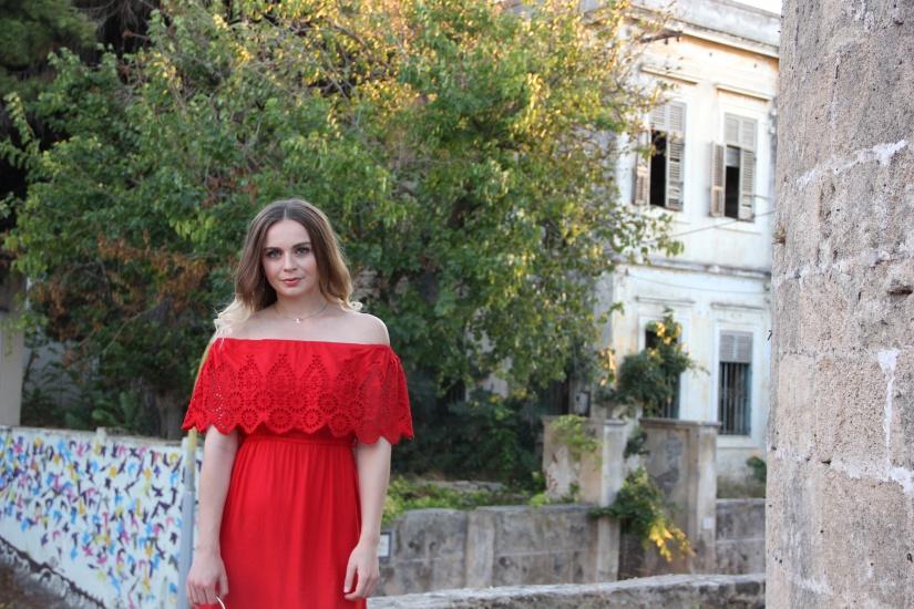 Holiday style red bardot