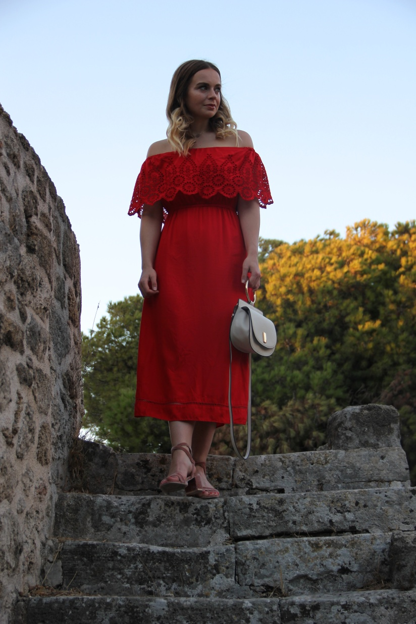 Holiday Style red midi dress