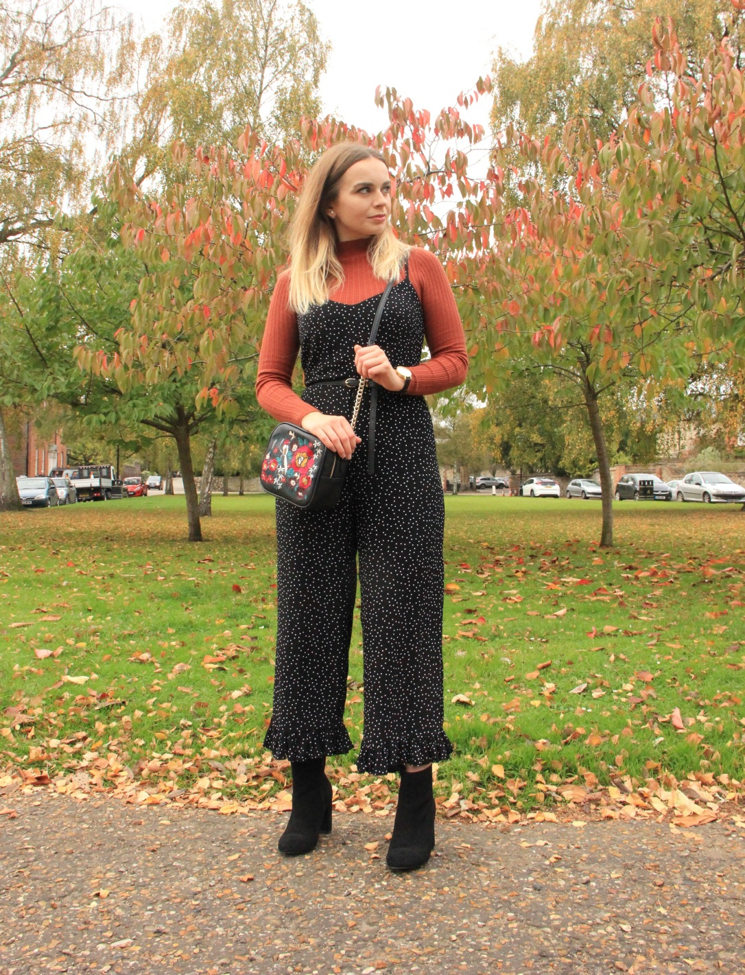 Layered spotty jumpsuit