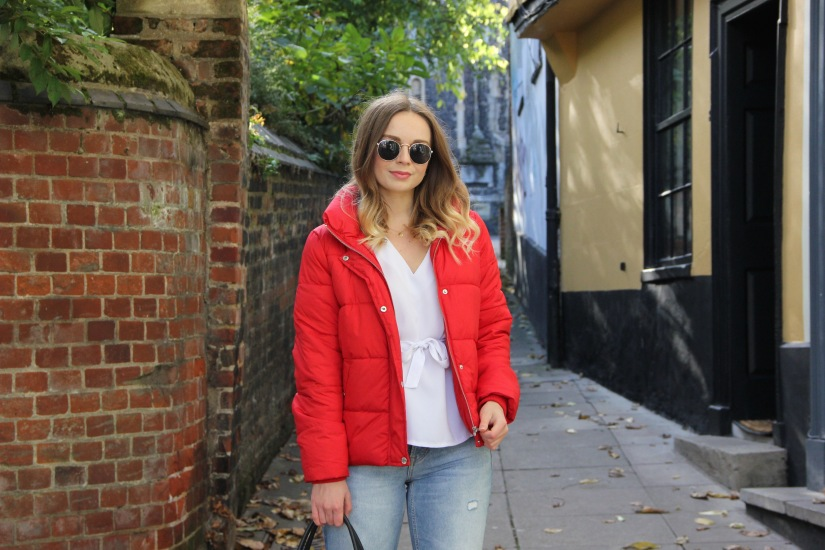 Styling a red padded jacket