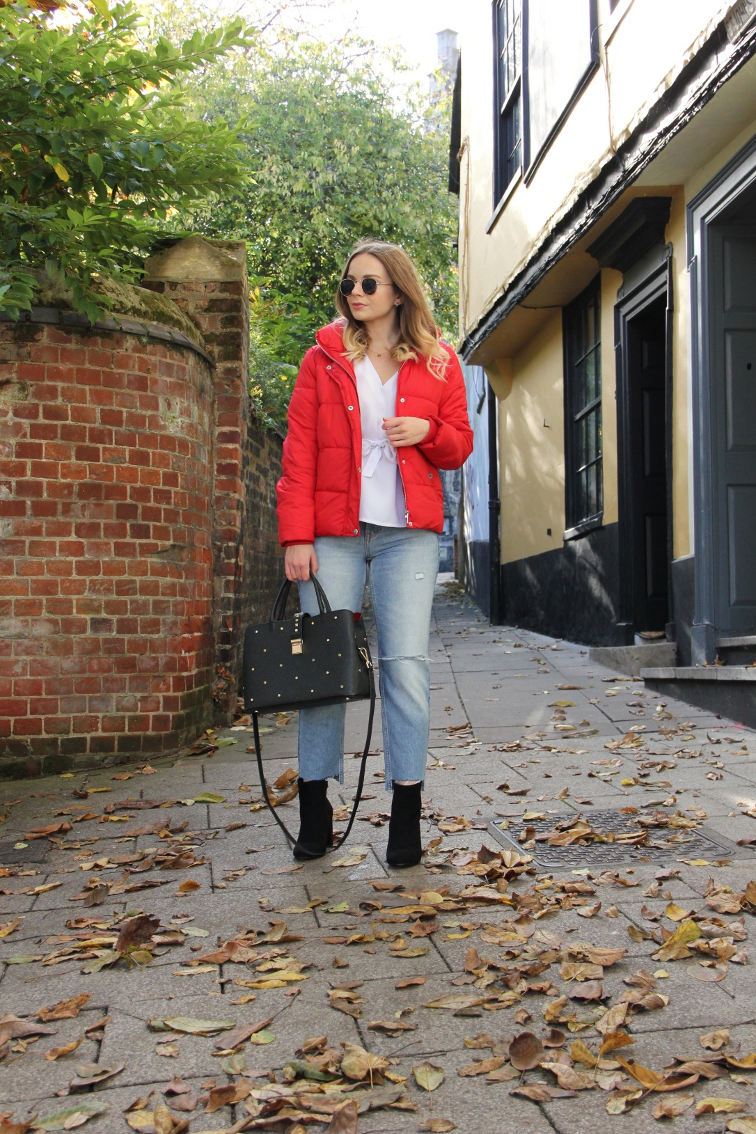 Styling a red puffa jacket