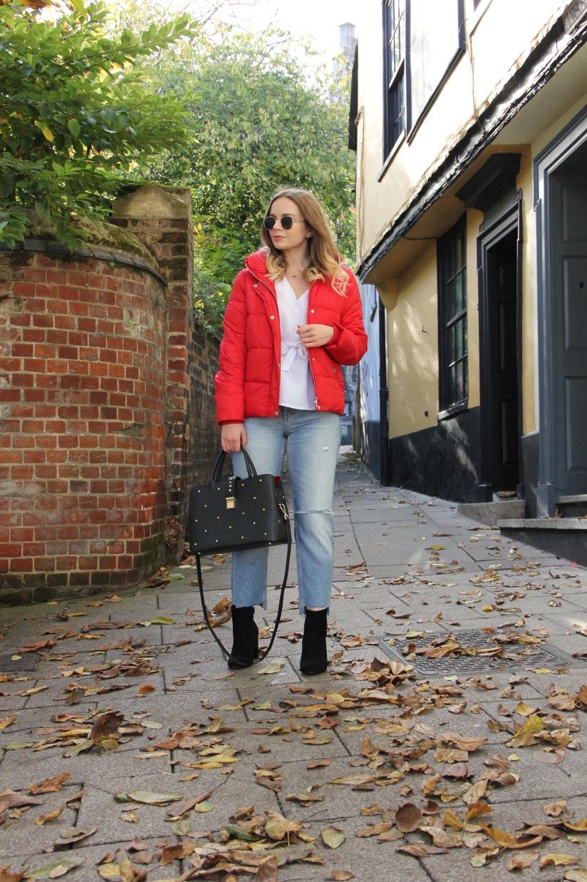 Styling a red puffa jacket