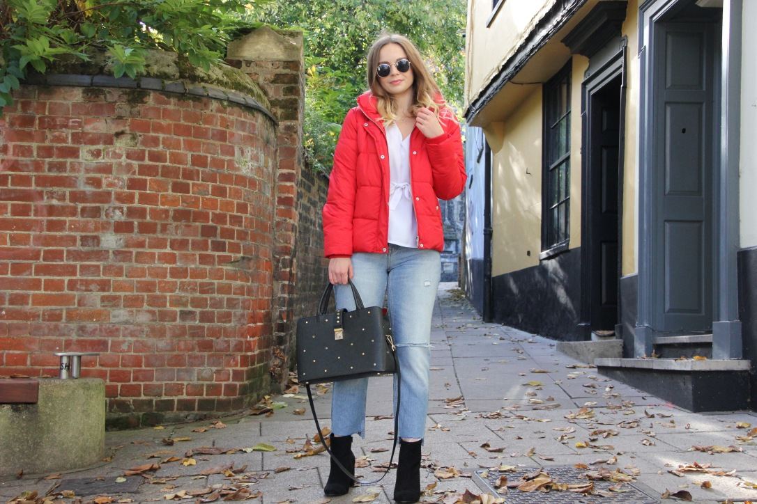 Ways to wear a red puffa jacket