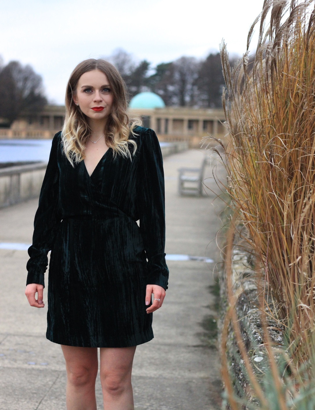 Green H&M velvet wrap dress