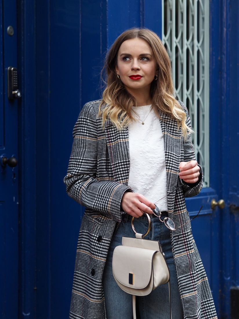 Checked maxi coat outfit