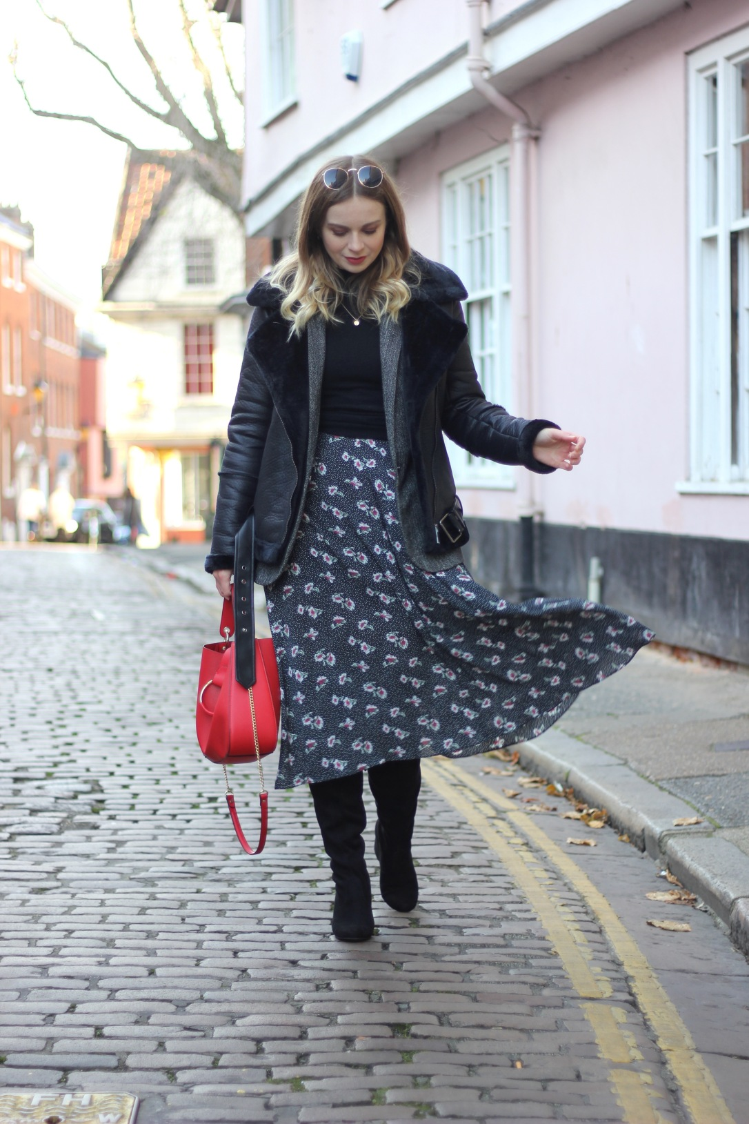 Layered winter midi dress look