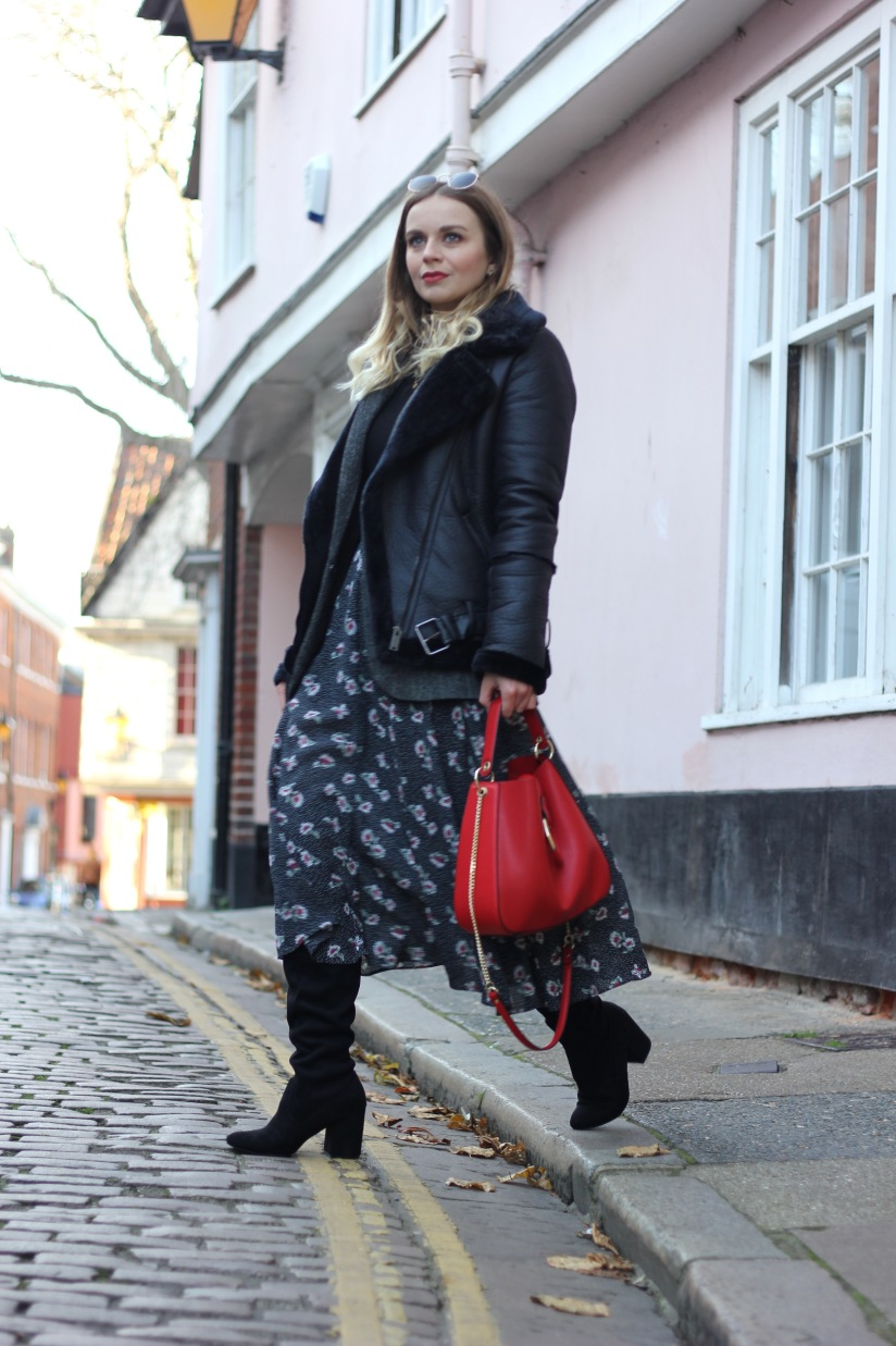 Styling a midi dress for winter