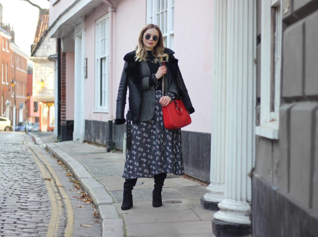 Ways to wear a midi dress in winter