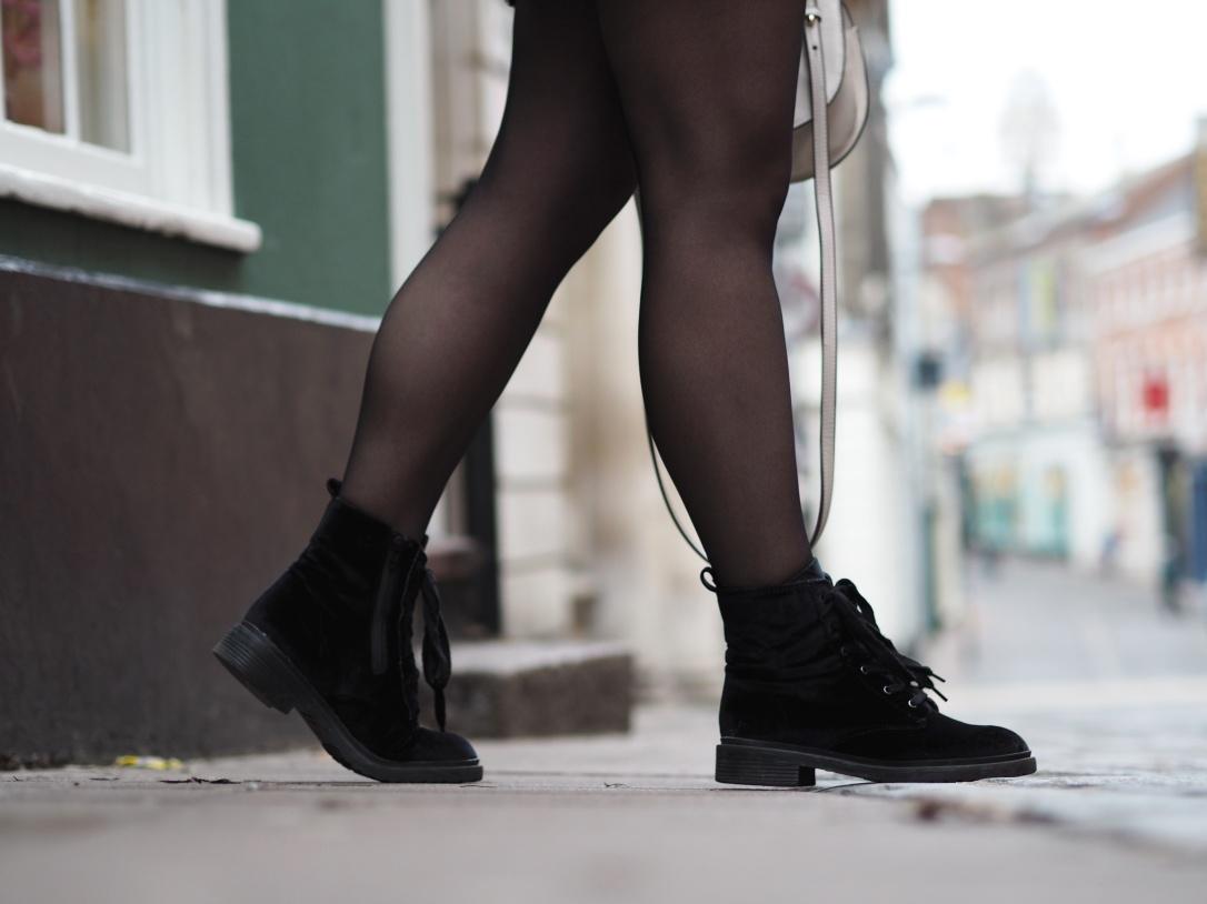 Primark velvet biker boots