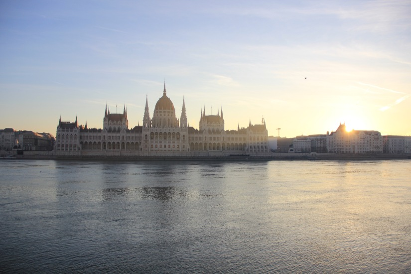 Hungarian parliament sunrise
