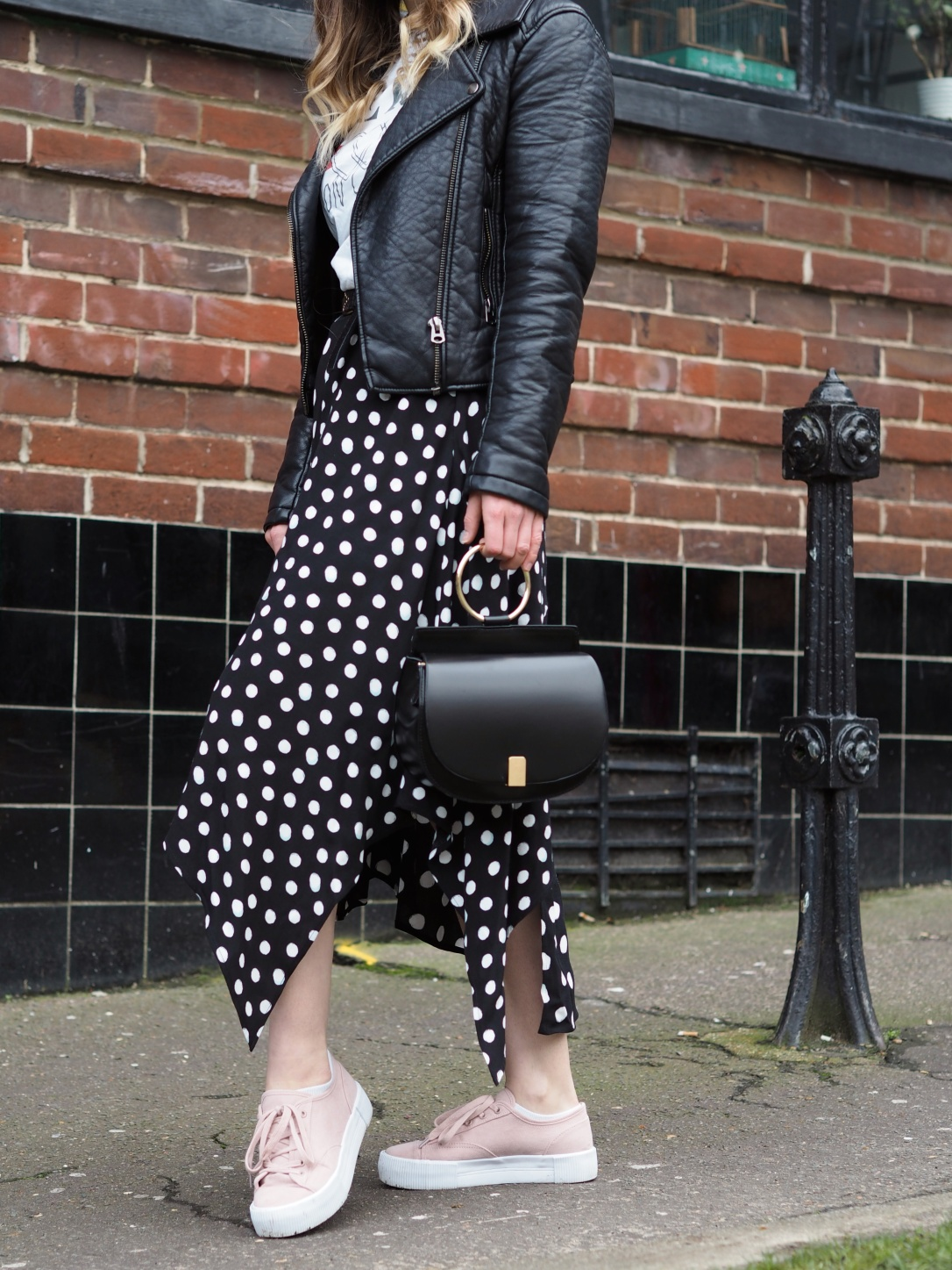 Topshop spotty hanky hem skirt